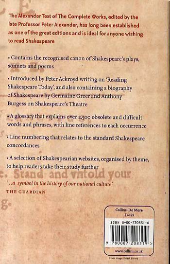 The Complete Works of William Shakespeare: The Alexander Text (Paperback)